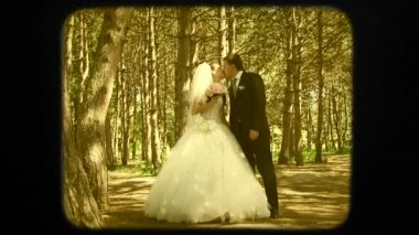 Everlasting Wedding Kiss Of Young Newlyweds — Vídeo stock