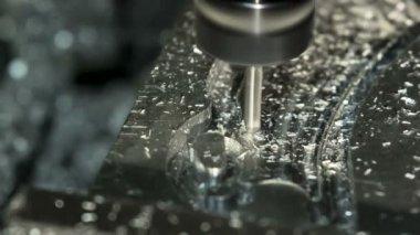Lathe Cutting Aluminium. — Stock Video
