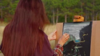 Woman With Long Brown Hair Drawing A Picture At Plein Air — Stock Video