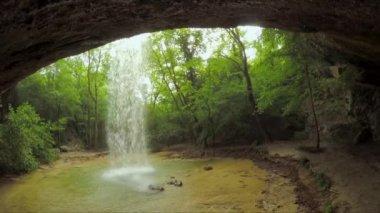 Beautiful Waterfall In Wild Crimea Forest — Stock Video