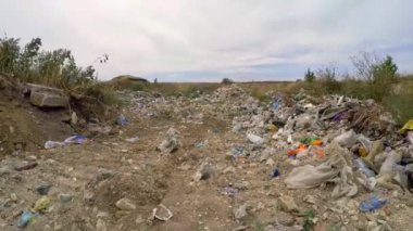 Garbage And Wastes Dumped In Heap At Suburbs In Ukraine — Stock Video