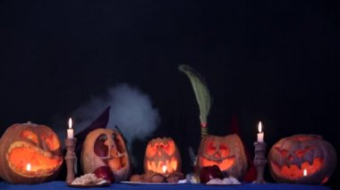 Little Witches Doing Magic At Halloween — Stock Video