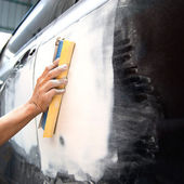 Car body work auto Repair paint after the accident. — Stock Photo