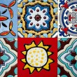 Beautiful old wall ceramic tiles patterns handcraft from thailand public. — Stock Photo #70106025
