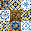 Beautiful old wall ceramic tiles patterns handcraft from thailand public. — Stock Photo #70106175
