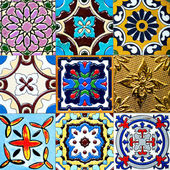 Beautiful old wall ceramic tiles patterns handcraft from thailand public. — Stock Photo