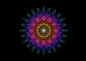Rainbow Flower in Spirograph Style on Black Background — Cтоковый вектор
