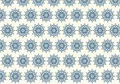 Dark Blue Retro Bloom and Arrow Shape and Lobe Pattern on Pastel — Stock Vector