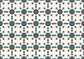 Dark Blue Retro Blossom and Arrow Shape Pattern on Pastel Backgr — Vettoriale Stock
