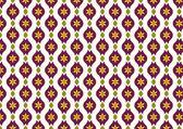 Dark Purple Retro Flower and Leaves and Lobe Pattern on Pastel B — Stock Vector