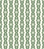Green Classic Flower and Lobe Seamless Pattern — Stock Vector