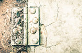 Hinge and Rust and Rivet on Metal Sheet of Car Part High Contrast Style — Stock Photo