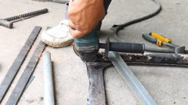 Grinding Steel Pipe of Car Structure — Stock Video