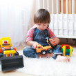 2 years toddler boy plays cars at home — Stock Photo #55967953