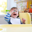 Crying toddler boy dont want to eat — Stock Photo #56826867