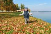 Lovely toddler boy running in autumn outdoors — Stock Photo