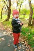 Happy little boy in autumn outdoors — Stock Photo