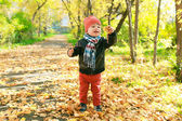 Happy little child plays with leaves in autumn outdoors — Stock Photo