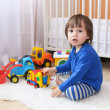 Lovely 2 years toddler boy plays cars — Stock Photo #57463615