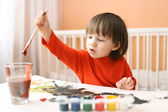 Lovely little 2 years boy painting at home — Stock Photo