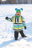 Smiling little boy in winter outdoors — Stock Photo