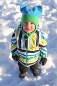 Lovely little child in winter outdoors — Stock Photo