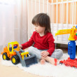 2 years toddler boy plays cars at home — Stock Photo #63381097