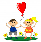 Happy little girl and boy hold balloon — Stock Photo