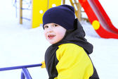 Portrait of 2 years child in overall in winter — Stock Photo