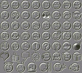 Metal relief 54 smiley emotion icons — Stock Photo