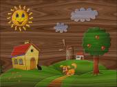 Landscape relief painting on generated wood texture background — Stock Photo