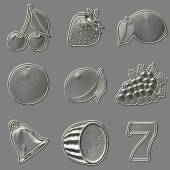 Metal relief slot machine fruit symbols — Stock Photo