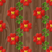 Heart flower seamless relief painting on generated wood texture — Stock Photo