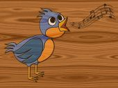 Singing bird relief painting on generated wood texture backgroun — Stock Photo