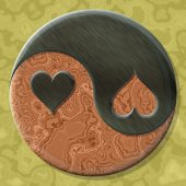 Yin-yang heart symbol with seamless generated texture background — Stock Photo