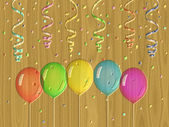 Confetti relief painting on generated wood texture background — Stock Photo