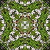 Kaleidoscopic bee on flower seamless generated texture — Стоковое фото