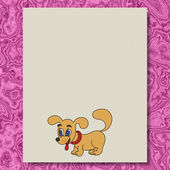 Dog writing paper texture marble background — Stock Photo