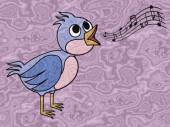 Singing bird relief painting on generated marble texture backgro — Stock Photo