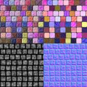 Glass tiles seamless generated texture (with diffuse, bump and n — Stock Photo