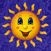 Happy sun relief painting on marble generated texture background — Stock Photo