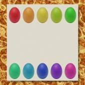 Easter eggs writing paper marble texture background — Stock Photo