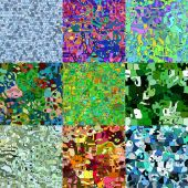 Set of cartoon animals abstract seamless generated textures — Stock Photo