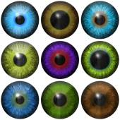 Set of eye iris generated textures — Stockfoto