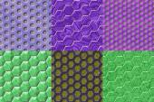 Set of hexacomb tiling seamless generated textures — Stock Photo