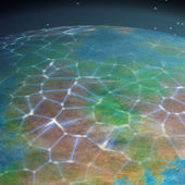 Network on planet generated texture background — Stok fotoğraf