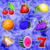 Slot machine fruits relief painting on generated marble texture — Stock Photo