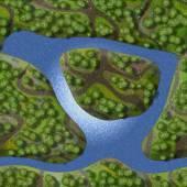 Mini landscape seamless generated background — Stock Photo