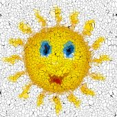 Happy sun graffiti mosaic generated texture — Stock Photo
