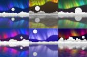 Set of arctic pole landscape generated background — Stok fotoğraf